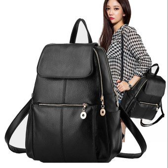 Harga Hanyu Womens New Fashion PU Leather Shoulder Bag Backpacks Simple Style Black - intl