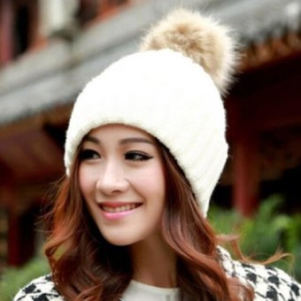 Harga Hot Sale Fuzzy Ball Design Knitted Winter Hat For Women