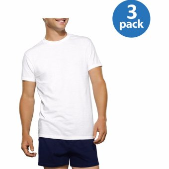 Harga Hanes Premium Series Tag-Free ComfortSoft Round-Neck T-Shirt Undershirt Original Fit 100% Cotton SET OF 3