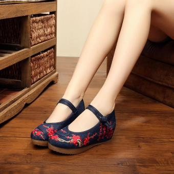 Veowalk Chinese Painting Embroidered Asian Women Casual Canvas 5cm Heels Wedges Platforms Elegant Ladies Mary Janes Pump Shoes Black - intl Price Philippines
