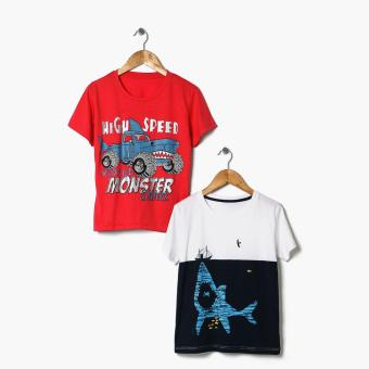 Harga jusTees Boys 2-Piece Shark And High Speed Monster Graphic Tee Set (Size 12)