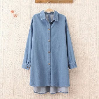 Plus Size Autumn Long Sleeve Denim Shirts for Women - intl Price Philippines