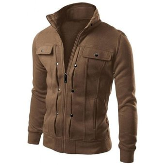 Men's Fashion Long Sleeve Stand Collar Casual Jacket(Coffee) - intl Price Philippines