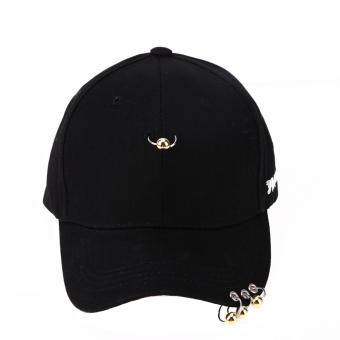 Cool Unisex Hat Iron Ring Hip Hop Curved Strapback Baseball Cap Hat(Gold) - intl Price Philippines