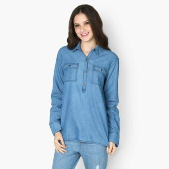 Harga SM Woman Chambray Long Sleeved Shirt (Denim)