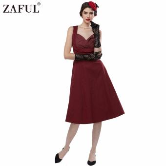 Harga Retro Dress Sleeveless Big Hem V-neck (Wine Red) - INTL