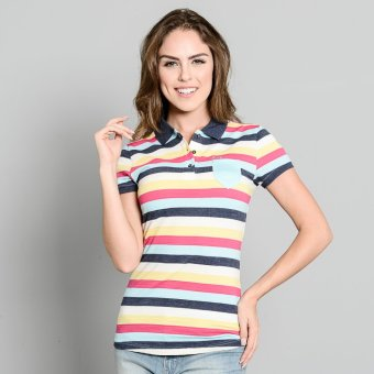 Harga Lee Ladies' Striped Polo (Dk Maong Blue/Golf/Salmon)