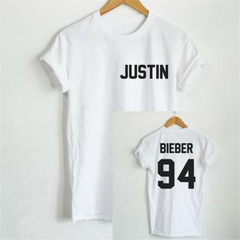 Hang-Qiao Letter Bieber justin 94 Printed Loose T-shirt (White) - intl Price Philippines