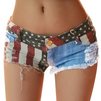 Hot Pants Mini Jeans Shorts Women American US Flag Denim Price Philippines