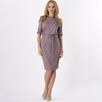 LALANG Fashion Elegant Belt Slim Casual Dress (Coffee) - intl Price Philippines