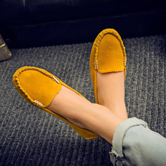 Womens Moccasin Suede Slip On Flat Loafers Ladies Casual Ballerina Ballet Shoes Yellow - intl Price Philippines