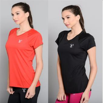 Harga BUY 1 TAKE 1 Outperformer Active V Neck Shirt with Extra Stretch and Dryperform Technology (Ebony and Scarlet Red)