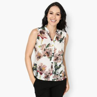 Harga SM Woman Career Floral Sleeveless Blouse (Brown)