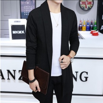 Harga Men's Long Knitted Lapel Open Front Cardigan-Black - Intl