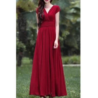 Harga #81 Luxurious Korean Wrap Dress (Red)