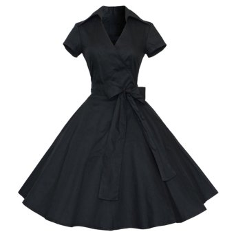 Harga Lapel Design Dress Big Hem With Belt (Black) - Intl