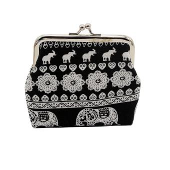 Harga Fashion Women Canvas Lady Wallet Elephant Floral Purse Clutch Bag Black - intl