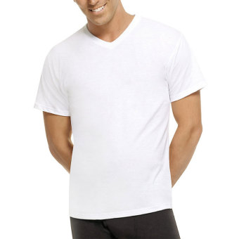 Harga Hanes Premium Comfort for Men V-Neck (White) - Set of 3