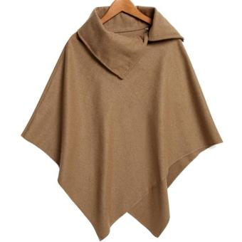 Harga New Women Fashion Cape Asymmetric Hem Cloak Coat Pure Color Leisure Wool Blend Outwear - intl