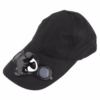 Harga Cap with solar powered fan (Black)