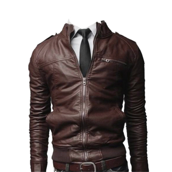 Men's Fashion Leather Jacket Coat(Deep Coffee) Price Philippines