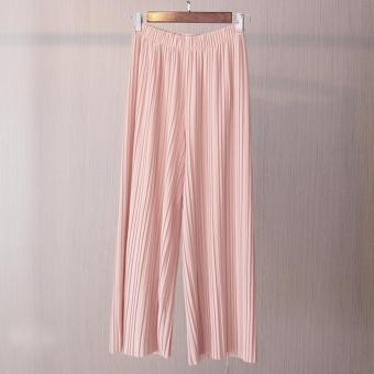 Amart Fashion Women Wide Leg Pants Pleated Loose Elastic Waist Spring Autumn Casual Trousers - intl Price Philippines
