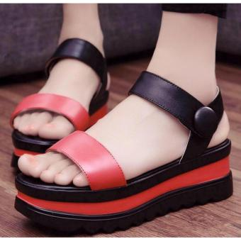 Harga Korean Kate Flat Thick Sandals Size (Black/Red)