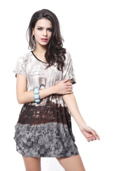 Women's Summer Fashion Casual Plus Size Short Sleeve Dress Coffee Price Philippines