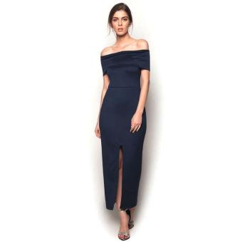 Fashionista Front Split Maxi Dress (Navy Blue) Price Philippines