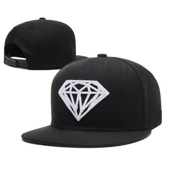 Fashion Diamonds pattern Snapback Hat Pure color Adjustable Hat Hip Hop Baseball Cap (Black ) - intl Price Philippines