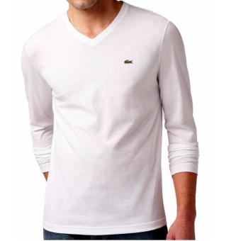 Harga LACOSTE VNECK LONGSLEEVES FOR MEN WHITE