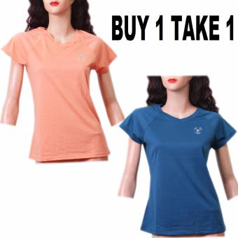 Harga BUY 1 TAKE 1 Outperformer Cotton Rich V-Neck Shorts Sleeve (Teal Blue and Peach)