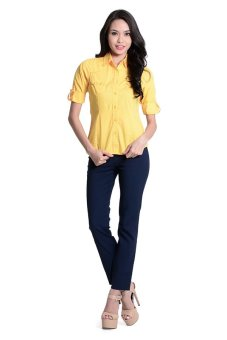 Harga Bobson Slim Fit Plain Shirt (Yellow)