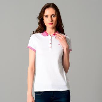 Harga Jag Ladies Sportshirt with Modified Collar & Cuffs (White/Fucshia Pink)