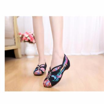 Women Chinese National Embroidered Floral Shoes Ballerina Flat Ballet Loafer Black - intl Price Philippines
