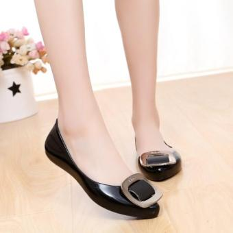 Women's Summer Rubber Flats Slippers Jelly Lady's Point Toe Ballerina OL Casual Shoes D148 Black - intl Price Philippines