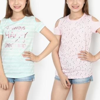 Harga jusTees Girls 2-Piece Always Happy And Dreaming Cold-Shoulder Tee Set (Size 8)