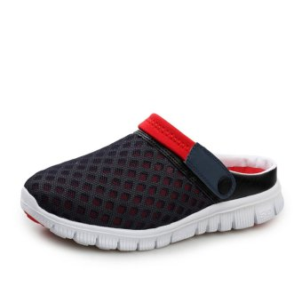 Men's slippers Male Sandals Crocs Beach Sandals Breathable Nest Men Shoes Hole Mesh sandals AIWOQI(RED) - intl Price Philippines