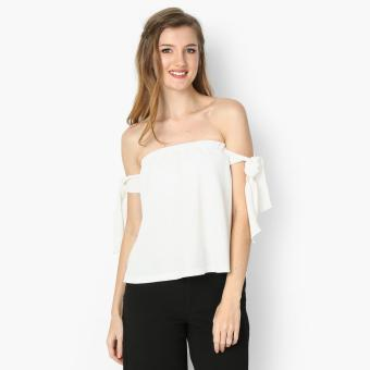 Harga GTW Fab Off-shoulder Tie Sleeves Top (White)