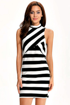 Harga ETOP Stylish Ladies Women Sexy Sleeveless Bodycon Package Hip Striped Casual Party Pencil Dress (Black/White) - intl