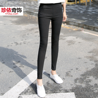 Imitation cowboy female thin outerwear pencil pants New style bottoming pants (Black color)