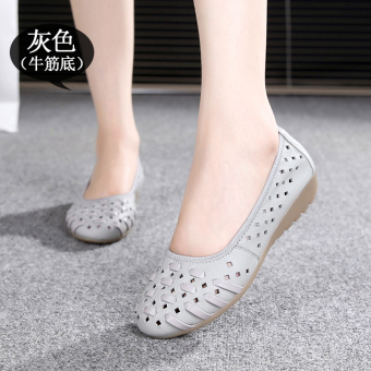 In the elderly leather summer flat sandals women's shoes (Gray (gum outsole))