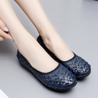 In the elderly leather summer flat sandals women's shoes (Sapphire Blue)