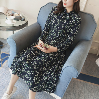 Indie long-sleeved elegant mid-length skirt chiffon Suihua dress (95 paragraph-blue)