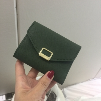Indie metal female New style leather wallet short wallet (Dark green color)