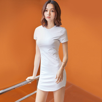Indole card sexy female short-sleeved Slim fit Slimming effect dress T-shirt (White)