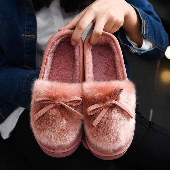 Indoor home Fur women warm slippers cotton slippers (Women's + Pink)