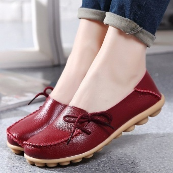 INN Women Shoes Leather Beanie Flat Shoes, Ladies Soft Loafers Flats( Wine Red) - intl