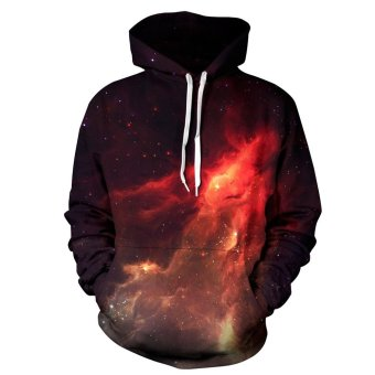 Innes Women's 3D Digital Print Pullover Sweater Hoodie Sweatshirt Flaming Galaxy