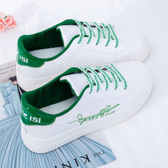 INS versatile female student super shoes white shoes (Green)